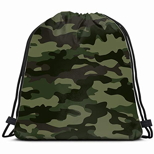Brown Camouflage Backpack - Camouflage Classic Green Brown Abstract Camo Drawstring Backpack Gym Sack Lightweight Bag Water Resistant Gym Backpack For Women&Men For Sports,Travelling,Hiking,Camping,Shopping Yoga