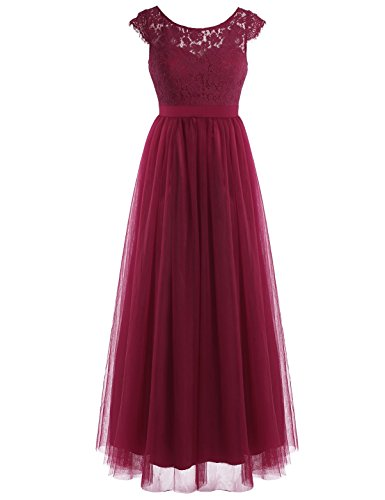 al Lace Tulle Bridesmaid Dress Low Cutout Back Long Evening Gowns Wine Red 8 (Back Long Evening Dress)