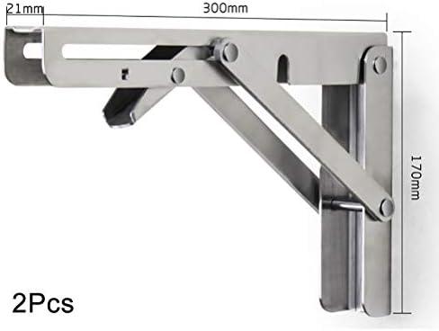 L字 金具 1Pairヘビーデューティ折りたたみシェルフブラケット、棚のためのステンレス鋼の折りたたみ脚ブラケット、ネジ付き折りたたみブラケットは、省スペース、簡単にインストールするには、美しく、丈夫な (サイズ : 300mm×170mm)