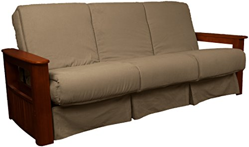 Cheap Epic Furnishings Chicago Storage Arm Style Perfect Sit & Sleep Pocketed Coil Inner Spring Pillow Top Sofa Sleeper Bed, Queen-size, Mahogany Arms, Microfiber Suede Mocha Brown Upholstery
