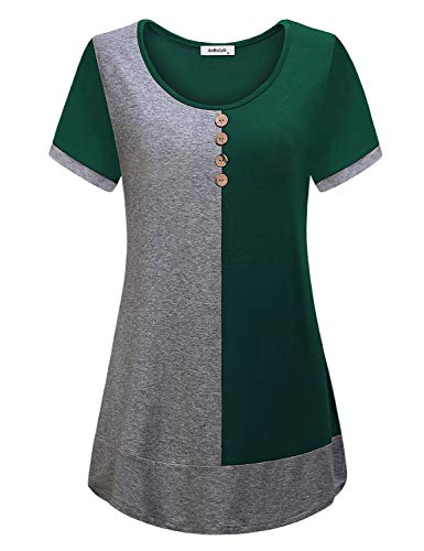 AxByCzD Womens Tunics for Leggings,Youth Form Fitting Tops Breathable Thin Shirts Short Sleeve Nice Round Neck Blouses Splicing A Line Dressy Hem Button Décor Summer Prime Clothes Leisure Green L ()