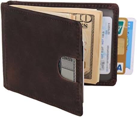 Texbo RFID Blocking Genuine Cowhide Leather Slim Bifold Wallets Men Money Clip ¡