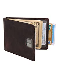 Texbo RFID Blocking Genuine Cowhide Leather Slim Bifold Wallets Men Money Clip