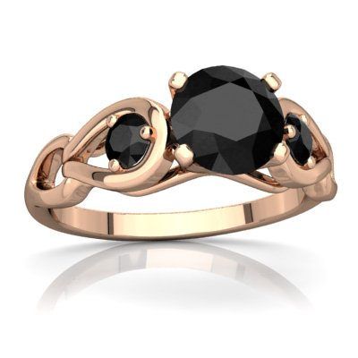 (14K Rose Gold Black Onyx Round Links Ring - Size 7)