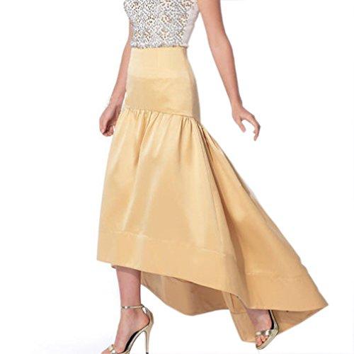 Lisong Women Floor Length Satin High Low Taffeta Prom Party Skirt US 2 Yellow Floor Length Taffeta Satin