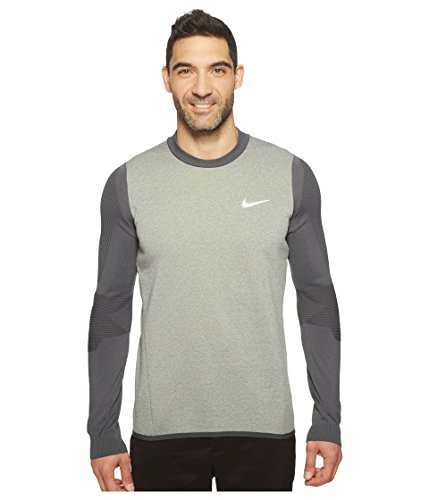 Nike Tech Sphere Knit Crew Men's Golf Cover-up Sweater Carbon Heather/Volt Size Medium by NIKE
