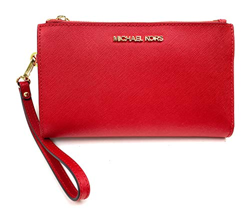 Michael Kors Women's Jet Set Travel Double Zip Wristlet (Flame)