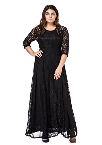 (ESPRLIA Women's Plus Size Lace 3/4 Sleeve Evening Party Formal Wedding Maxi Dress (3X, Black))