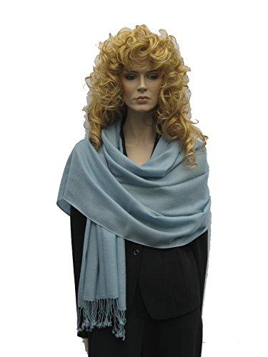 Cashmere Pashmina Group: Solid Pashmina Shawl, Scarf, Wrap & Stole(Regular size) Steel Blue