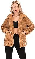 Comeon Women's Faux Fur Jacket Shaggy Jacket Winter Fleece Coat Outwear Shaggy Shearling Jacket (Dark Pink, XX-Large)