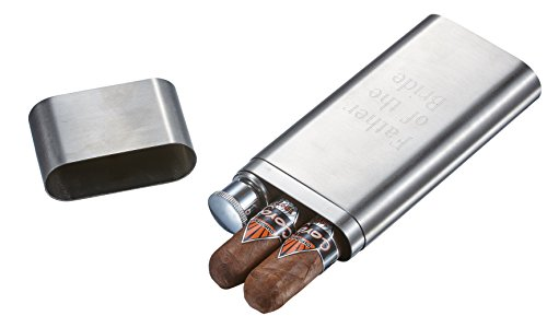 Personalized Cigar Case and Flask Combo with Free Engraving. Stainless - Personalized Cigar Flask