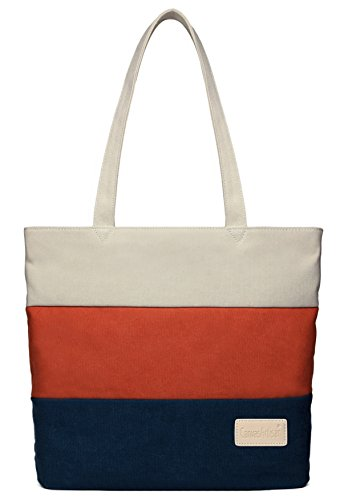 Blue Fabric Handbags - ArcEnCiel Women's Canvas Shoulder Hand Bag Tote Bag (Red&Blue)