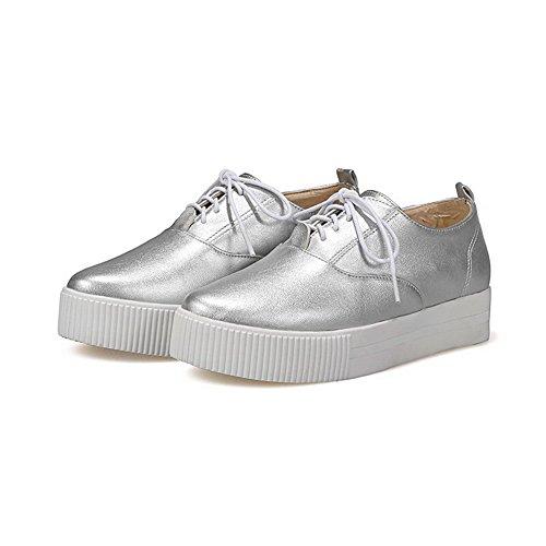 Zapatos PU punta bajo cordones tacón Plateado para Zapatos VogueZone009 de Bombas cerrada con Redondos mujer con W8TnxP
