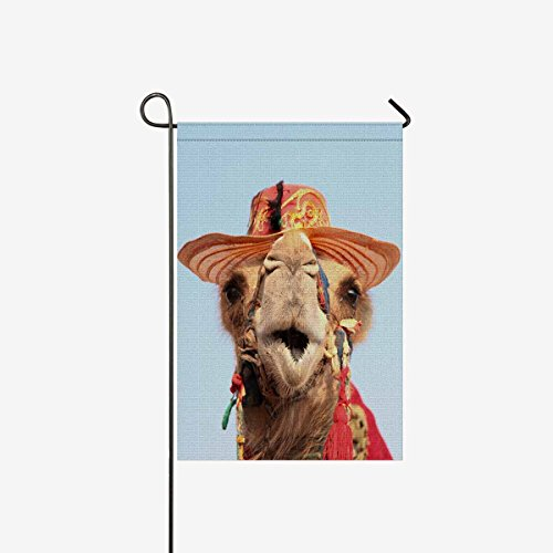 INTERESTPRINT Funny Camel with Hat Cute Animal Garden Flag Decorative for Garden and Home Decorations, House Banner 12 x 18 Inches (Without -