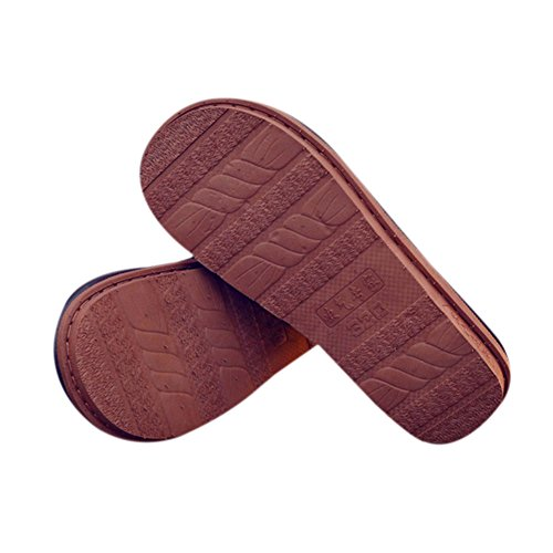 Zuhause Thicker PU Brown Meijunter Baumwolle Schuhe Wasserdicht Warm Leder Hausschuhe wqgxEfZ