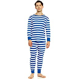 Men's Pajamas Fitted Striped Christmas 2 Piece Pjs Set...