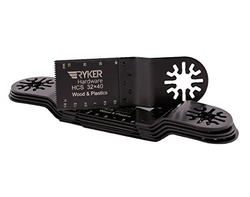 10 Piece Oscillating Multitool Saw Blade Set By Ryker Hardware | Great Quality & Durability | High Carbon Steel Blades for Wood & Plastic | Universal Fit Quick Release Multi Tool Saw Blades (Herramientas Black&decker compare prices)
