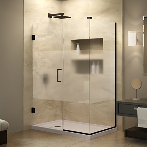 DreamLine Unidoor Plus 30 38 in D x 60 in W Frameless Hinged Shower Enclosure 38 Glass Oil Rubbed Bronze Finish