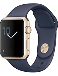 apple MQ132LL/A Watch Series 2 38mm Smartwatch, Gold Aluminum Case, Midnight Blue Sport Band