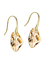 Neoglory Jewelry 14k Gold Plated Champagne Crystal Made with Swarovski Elements Drop Pierced Earrings