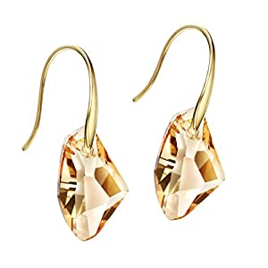 Neoglory Jewelry 14k Gold Plated Champagne Crystal Drop Pierced Earrings Mother's day Gift embellished with Crystals…