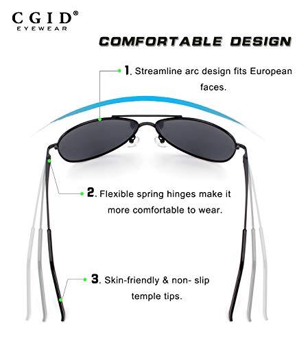 UV400 Gris duplicadas B sol completas de de polarizadas Mg bisagras de de Pilot Pistola para sol Prima aleación CGID Al resorte GA61 gafas gafas Hombres Mujeres gwH4ZqqxP