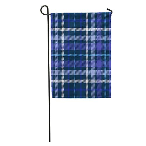 Semtomn Garden Flag Shadow Plaid Pattern Checkered in Shades of Blue Indigo Violet Home Yard House Decor Barnner Outdoor Stand 12x18 Inches Flag