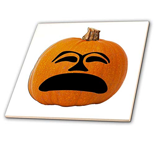 (3dRose Sandy Mertens Halloween Food Designs - Jack o Lantern Unhappy Sad Face Halloween Pumpkin, 3drsmm - 8 Inch Glass Tile)