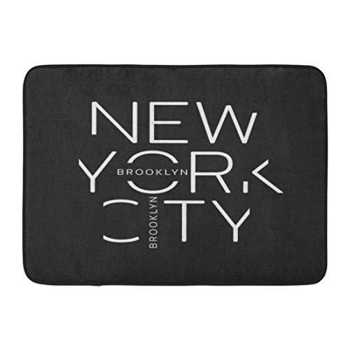 Emvency Bath Mat America Black Tee on The of New York City Brooklyn Linear Design Graphics Gray Label Athletic Bathroom Decor Rug 16