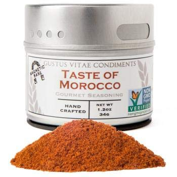 Gustus Vitae | Taste of Morocco Seasoning | 1.2 Ounce | Non GMO Verified | Magnetic Tin | Small Batch Gourmet Spice Blend