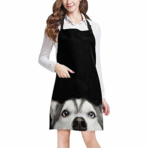 InterestPrint Hipster Funny Close Up Head Of Siberian Husky Dog With Blue Eyes Unisex Adjustable Bib Apron with Pockets for Women Men Girls Chef for Cooking Baking Gardening Crafting, Large Size by InterestPrint