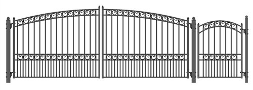 ALEKO SET16X4PARD Paris Style Galvanized Dual Swing Steel Gate Set Driveway Security Gate & Pedestrian Gate Black