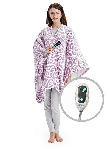 Beautyrest Ultra Soft Sherpa Berber Fleece Electric Poncho Wrap Blanket Heated Throw with Auto Shutoff, 50 W x 64 L, Lavender