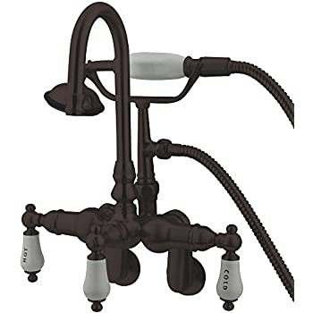 Kingston Brass CC303T5 Vintage Leg Tub Filler with Hand shower and Wall Angle Arm, Oil Rubbed Bronze