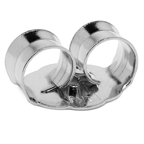 Single Earring Back Replacement |14K Solid White Gold | Threaded Push on-Screw off |Quality Die Struck | Post Size .032