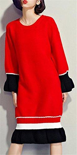 Di Femminile Colore Maglia Inverno Rosso Di Cruiize Abito Girocollo Arricciato Contrasto Iwzq8tBxS