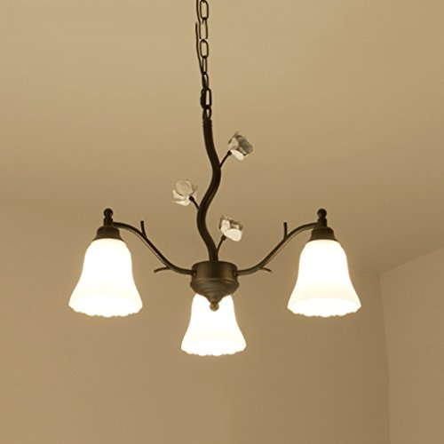 3 Light Chandelier Countryside - DEI QI American Vintage Iron Chandelier, Simple Countryside Bedroom Living Room Restaurant Cafe Decorative Ceiling Lamp, 3 Head Scrub Glass Wavy Hanging Lamp, Black E27, Excluding Bulb