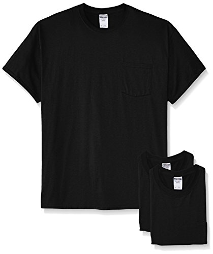 Jerzees Men's White Adult Short-Sleeve Pocket T-Shirts (3-Pack), Black, 3X - Adult Short Sleeve Black T-shirt