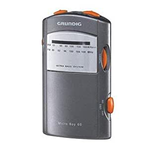 Grundig Micro 60 - Radio (Portátil, FM, 0.08W, 3.5 mm, 100g, micro) Gris
