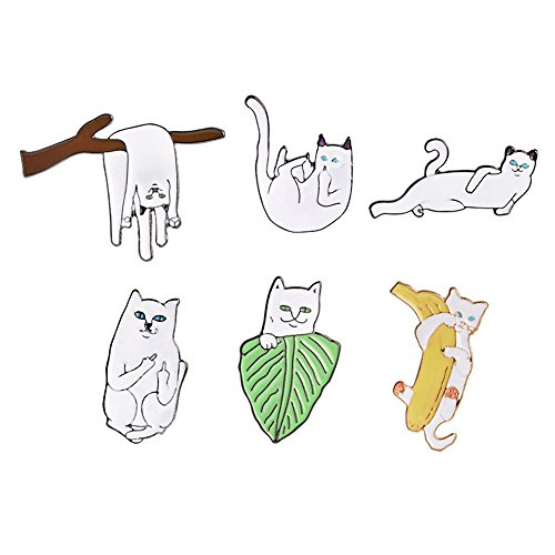 Kitten Pin Brooch - PunkStyle Novelty Animal Enamel Brooches Badge for Women Girls Children for Clothing Bag (Different Postures of The Kitten Brooch 6pcs)