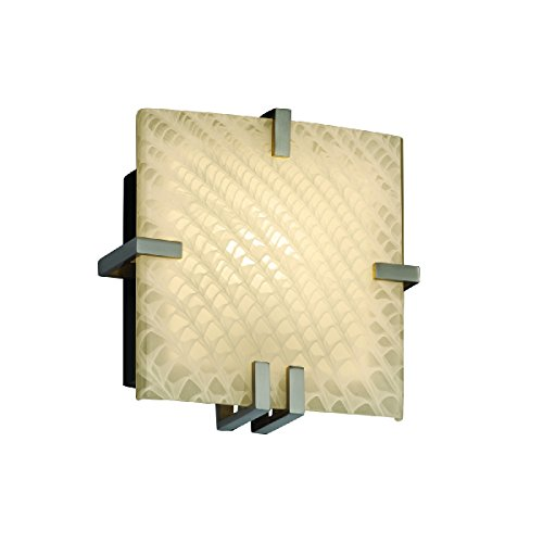 Justice Design Group Lighting FSN-5550-WEVE-NCKL-LED1-1000 Fusion - Clips Square Wall Sconce - Brushed Nickel - Weave - LED