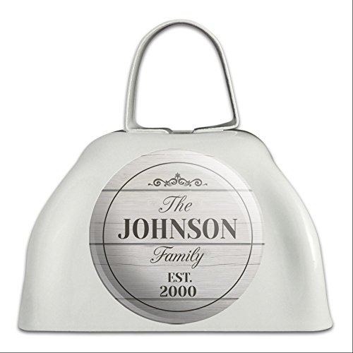 Graphics and More Personalized Custom The Name Family Established Year Light White Cowbell Cow (Custom Cowbell)