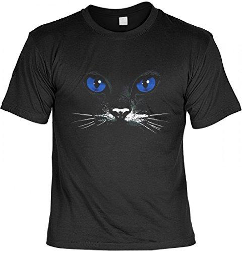 T-Shirt Motiv - Blaue Augen Katze - Super Idee für echte Katzen Fans ! - Auch als Geschenk passend !