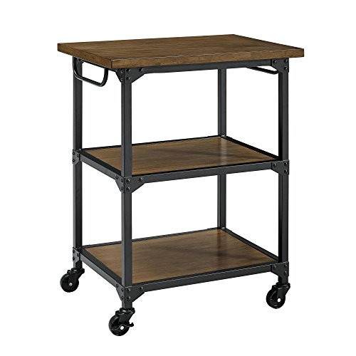Dorel Living DL7839 Nellie Multifunction Cart, Rustic Antique Oak/Black