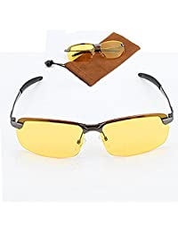 Yosoo Night Driving Polarized View Safety Glasses Yellow Anti-Glare Anti-Reflective HD Night Vision Or Men with Eyeglass Pouch Case