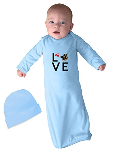 King Of Hearts Robe (KING SHEPHERD DOG Love Hearts Infant Baby Rib Layette Sleeping Gown Light Blue Set)