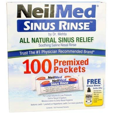 NeilMed Sinus Rinse All Natural Relief Premixed Refill Packets 100 Each (Pack of 3)