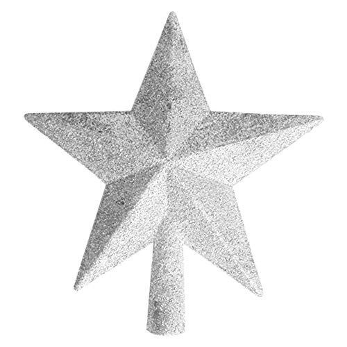 OSOPOLA Christmas Tree Topper Star - Five-Pointed Treasures Glittered Star Tree Ornaments - Decoration for Christmas Home Party Festival (Silver 8