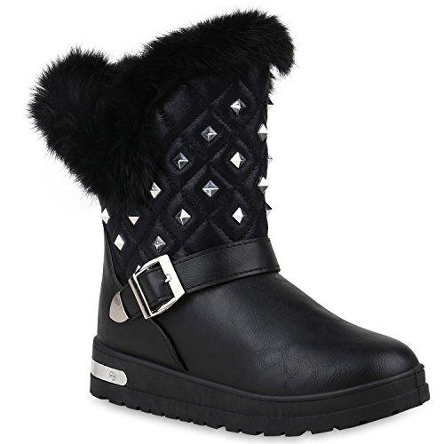 Stiefelparadies Damen Stiefeletten Warm Gefütterte Stiefel Leder-Optik Winter Boots Nieten Zipper Schnallen Camouflage Schuhe Flandell Schwarz Nieten Black