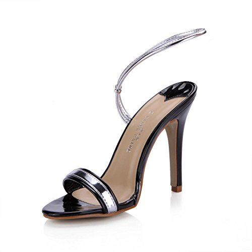 KUKIE Best 4U ® Sandalias Mujer Summer Mirror PU Peep Toe 10cm tacón con plantillas de goma negra